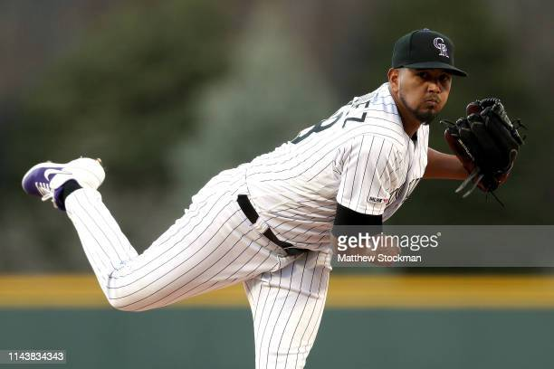 Starting pitcher German Marquez of the Colorado Rockies throws in the first inning against the Philadelphia Phillies at Coors Field on April 19 2019...