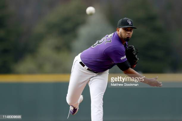 Starting pitcher German Marquez of the Colorado Rockies throws in the first inning against the San Diego Padres at Coors Field on May 10 2019 in...