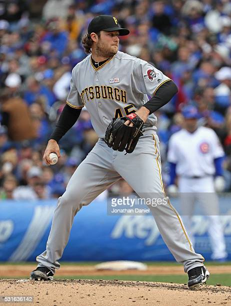 Starting pitcher Gerrit Cole of the Pittsburgh Pirates delivers the ball against the Chicago Cubs at Wrigley Field on May 15 2016 in Chicago Illinois