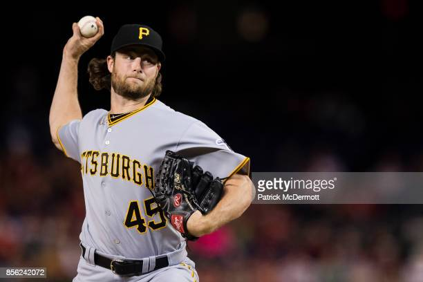 Starting pitcher Gerrit Cole of the Pittsburgh Pirates throws a pitch in the first inning against the Washington Nationals at Nationals Park on...