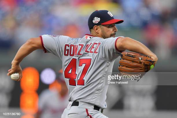 Starting pitcher Gio Gonzalez of the Washington Nationals delivers a pitch in the first inning against the Philadelphia Phillies at Citizens Bank...