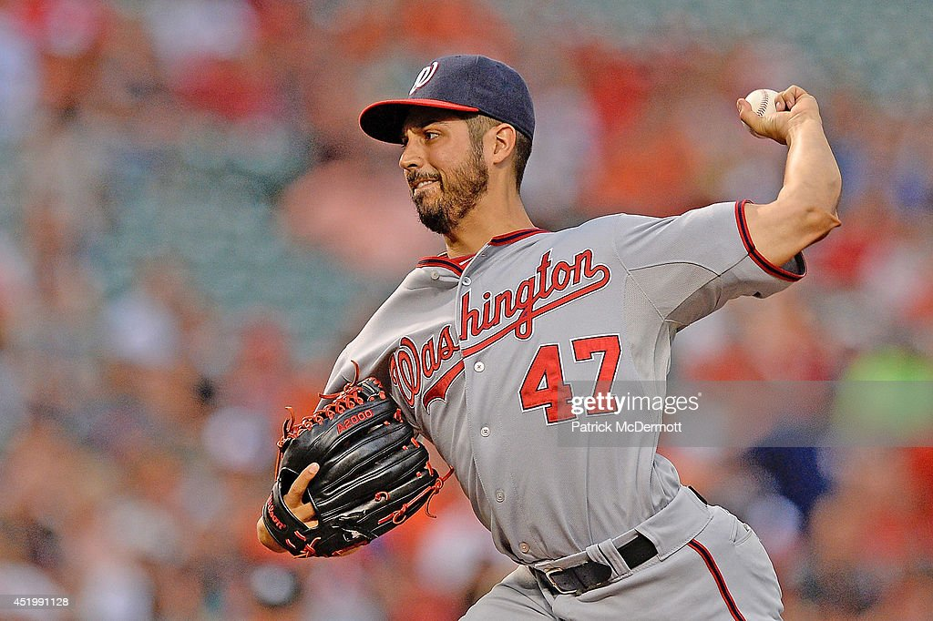Starting pitcher Gio Gonzalez #47 of the Washington Nationals throws a pitch in the first inning during a game against the Baltimore Orioles at Oriole Park at Camden Yards on July 10, 2014 in Baltimore, Maryland.