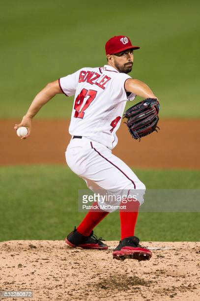 Starting pitcher Gio Gonzalez of the Washington Nationals throws a pitch in the fifth inning during a game against the Los Angeles Angels of Anaheim...