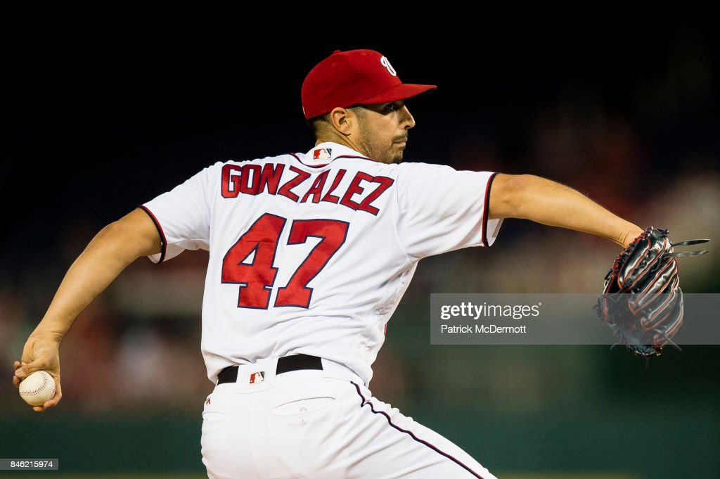 Starting pitcher Gio Gonzalez #47 of the Washington Nationals throws a pitch to a Atlanta Braves batter in the second inning at Nationals Park on September 12, 2017 in Washington, DC.