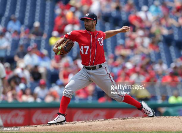 Starting pitcher Gio Gonzalez of the Washington Nationals throws a pitch in the first inning during a game against the Philadelphia Phillies at...