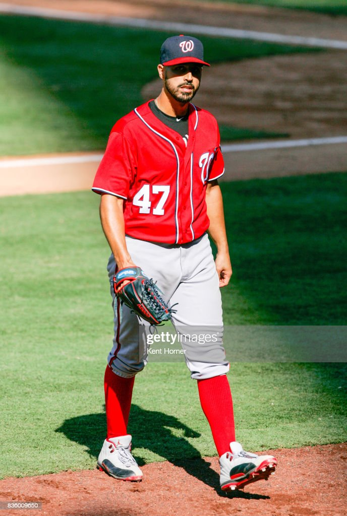 Starting pitcher Gio Gonzalez #47 of the Washington Nationals walks to the dugout after being removed from the game during the seventh inning against the San Diego Padres at PETCO Park on August 20, 2017 in San Diego, California.