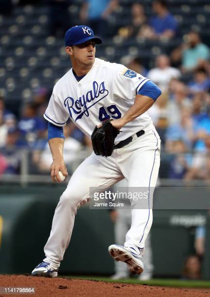 Starting pitcher Heath Fillmyer of the Kansas City Royals pitches during the game against the Seattle Mariners at Kauffman Stadium on April 10 2019...