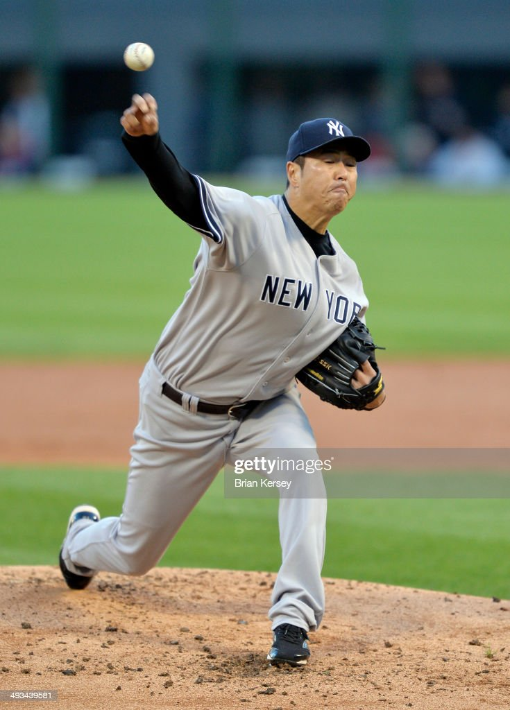Starting pitcher Hiroki Kuroda #18 of the New York Yankees delivers a pitch during the first inning against the Chicago White Sox at U.S. Cellular Field on May 23, 2014 in Chicago, Illinois.