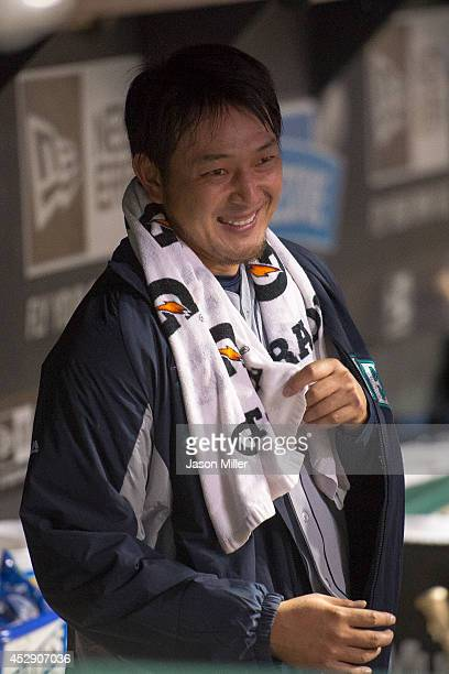 Starting pitcher Hisashi Iwakuma of the Seattle Mariners in the dugout during the eighth inning against the Cleveland Indians at Progressive Field on...
