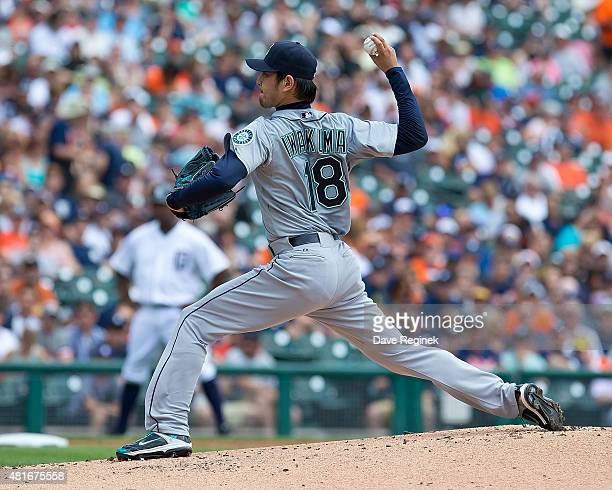 Starting pitcher Hisashi Iwakuma of the Seattle Mariners pitches in the first inning during MLB game against the Detroit Tigers at Comerica Park on...