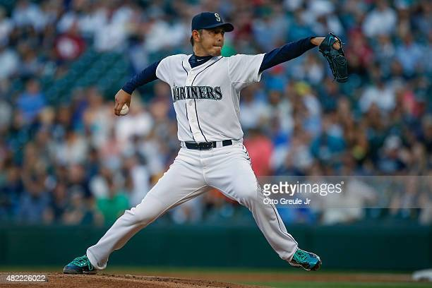 Starting pitcher Hisashi Iwakuma of the Seattle Mariners pitches in the first inning against the Arizona Diamondbacks at Safeco Field on July 28 2015...