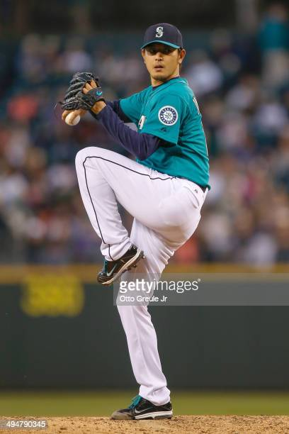 Starting pitcher Hisashi Iwakuma of the Seattle Mariners pitches in the sixth inning against the Detroit Tigers at Safeco Field on May 30 2014 in...