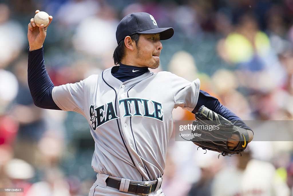 Starting pitcher Hisashi Iwakuma #18 of the Seattle Mariners pitches during the third inning against the Cleveland Indians at Progressive Field on May 20, 2013 in Cleveland, Ohio.