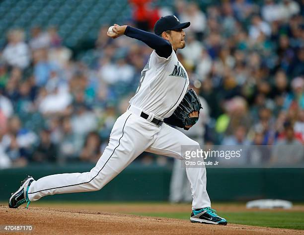 Starting pitcher Hisashi Iwakuma of the Seattle Mariners pitches against the Houston Astros in the first inning at Safeco Field on April 20 2015 in...