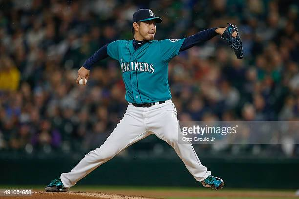 Starting pitcher Hisashi Iwakuma of the Seattle Mariners pitches against the Oakland Athletics in the first inning at Safeco Field on October 2 2015...