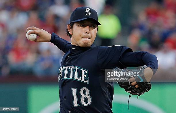 Starting pitcher Hisashi Iwakuma of the Seattle Mariners throws during the second inning of a baseball game at Globe Life Park in Arlington on May 20...