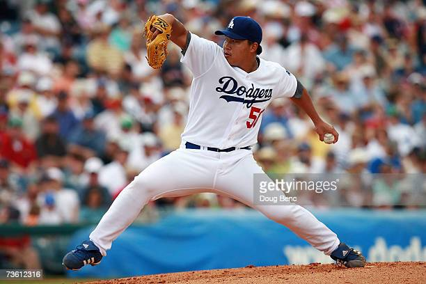 Starting pitcher Hong-Chih Kuo of the Los Angeles Dodgers pitches against the Boston Red Sox during a spring training game on March 16, 2007 at...