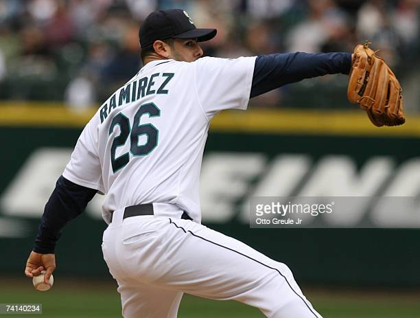 Starting pitcher Horacio Ramirez of the Seattle Mariners pitches against the New York Yankees on May 13 2007 at Safeco Field in Seattle Washington...
