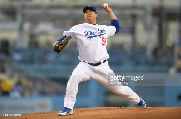 Starting pitcher HyunJin Ryu of the Los Angeles Dodgers pitches in the first inning against the New York Mets at Dodger Stadium on May 30 2019 in Los...