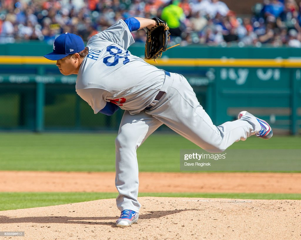 Starting pitcher Hyun-Jin Ryu #99 of the Los Angeles Dodgers throws in the first inning during a MLB game against the Detroit Tigers at Comerica Park on August 19, 2017 in Detroit, Michigan.