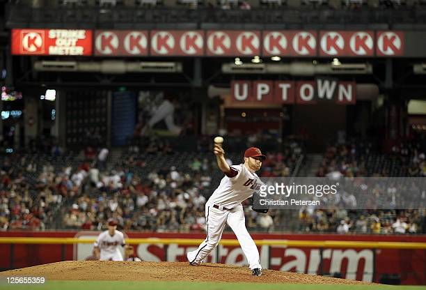 Starting pitcher Ian Kennedy of the Arizona Diamondbacks pitches against the Pittsburgh Pirates during the eighth inning of the Major League Baseball...