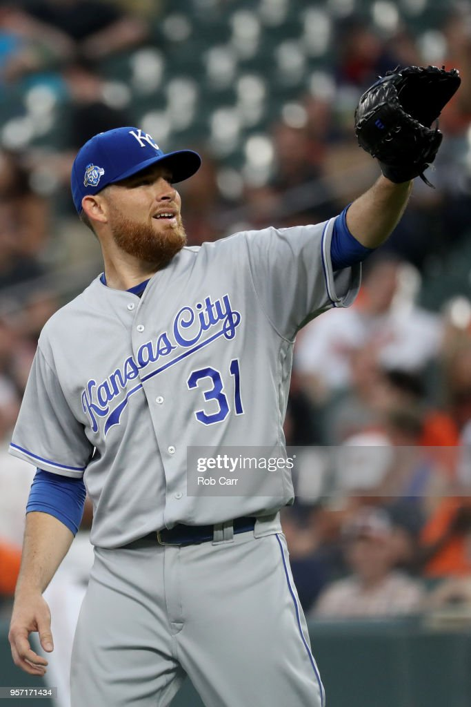 Starting pitcher Ian Kennedy #31 of the Kansas City Royals catches the ball before pitching to a Baltimore Orioles batter in the first inning at Oriole Park at Camden Yards on May 10, 2018 in Baltimore, Maryland.