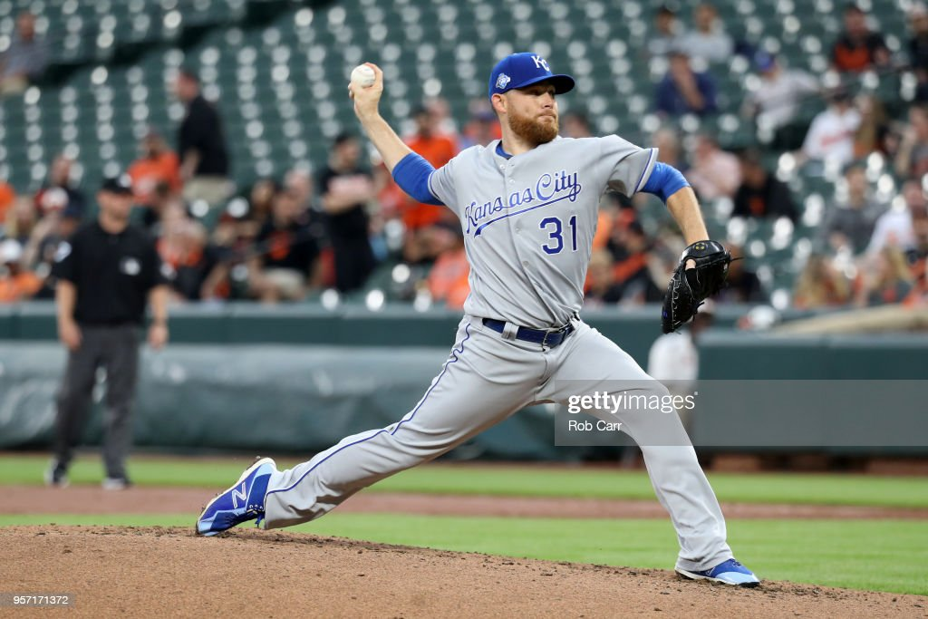 Starting pitcher Ian Kennedy #31 of the Kansas City Royals throws to a Baltimore Orioles batter in the first inning at Oriole Park at Camden Yards on May 10, 2018 in Baltimore, Maryland.