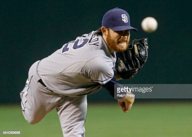 Starting pitcher Ian Kennedy of the San Diego Padres delivers a pitch against the Arizona Diamondbacks during the first inning of a MLB game at Chase...