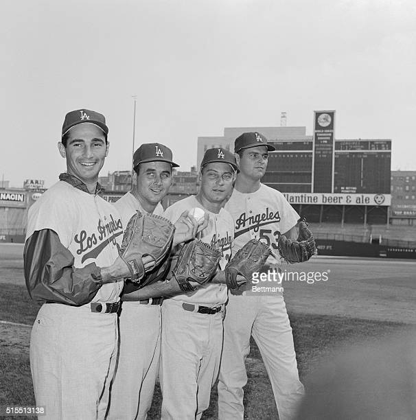 Starting pitcher in the 1963 World Series Los Angeles Dodgers' Sandy Koufax is backed by a battery of formidable hurling talent October 1st at Yankee...