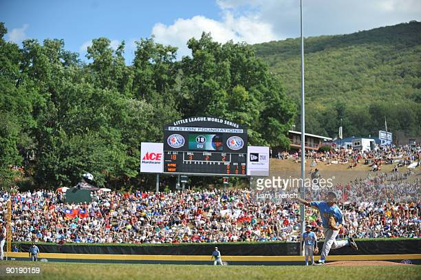 Starting pitcher Isaiah Armenta of California pitches against Asia Pacific in the little league world series final at Lamade Stadium on August 30...