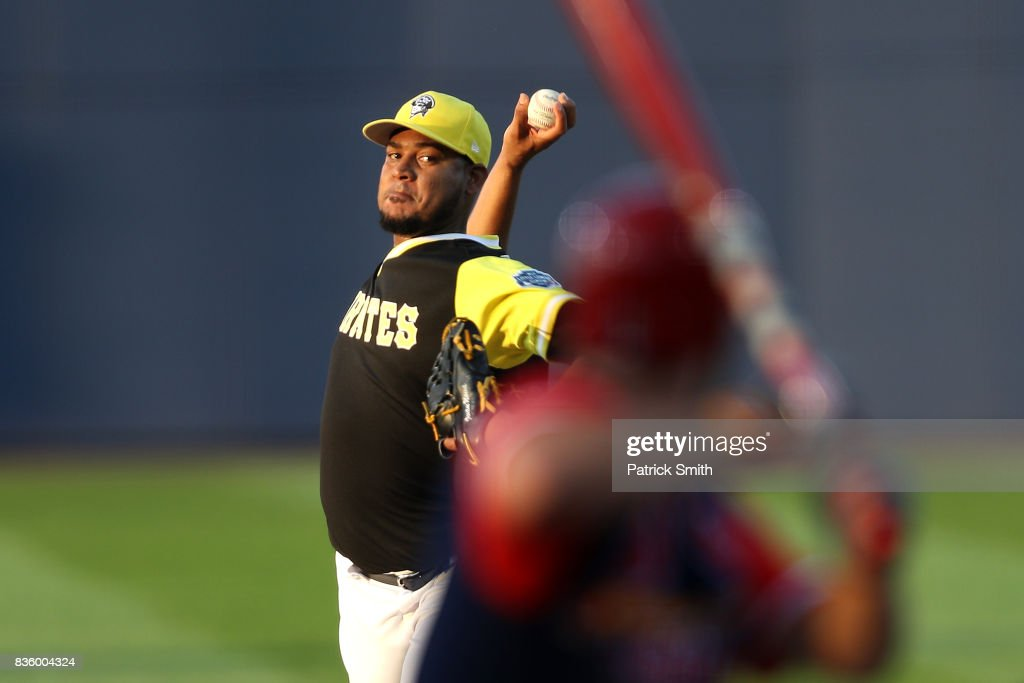 Starting pitcher Ivan Nova #46 of the Pittsburgh Pirates works a St. Louis Cardinals batter during the first inning in the inaugural MLB Little League Classic at BB&T Ballpark at Historic Bowman Field on August 20, 2017 in Williamsport, Pennsylvania.