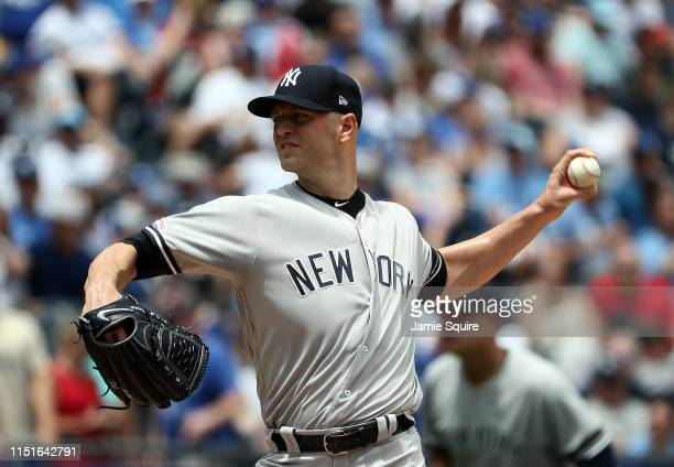 Starting pitcher JA Happ of the New York Yankees pitches during the 1st inning of the game against the Kansas City Royals at Kauffman Stadium on May...