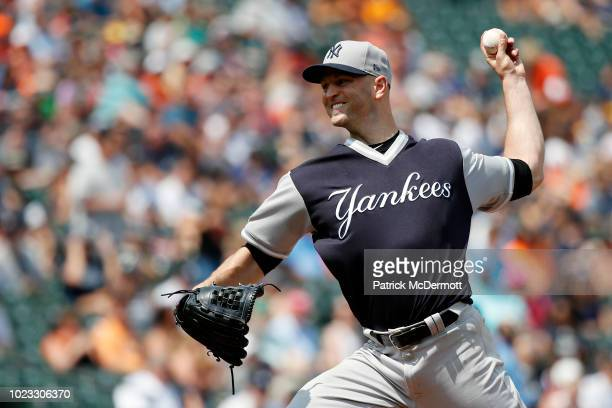 Starting pitcher JA Happ of the New York Yankees pitches in the first inning against the Baltimore Orioles during game one of a doubleheader at...