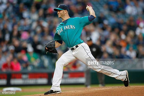 Starting pitcher JA Happ of the Seattle Mariners pitches against the Texas Rangers at Safeco Field on April 17 2015 in Seattle Washington