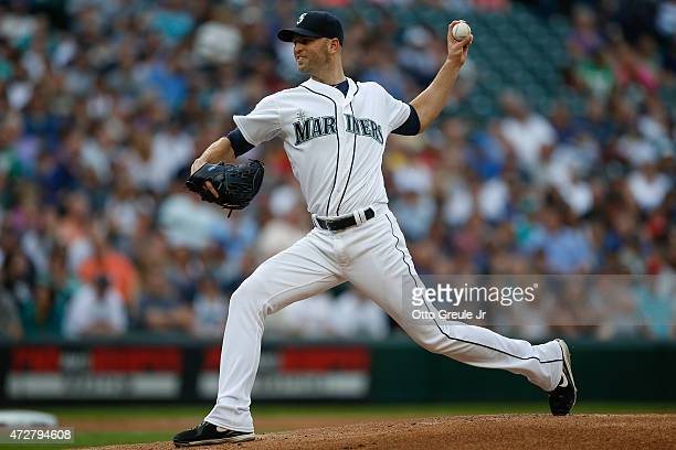 Starting pitcher JA Happ of the Seattle Mariners pitches against the Oakland Athletics in the first inning at Safeco Field on May 9 2015 in Seattle...