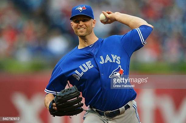 Starting pitcher JA Happ of the Toronto Blue Jays delivers a pitch in the first inning against the Philadelphia Phillies at Citizens Bank Park on...