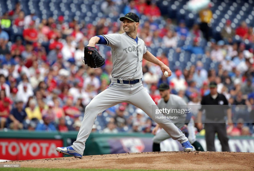 Starting pitcher J.A. Happ #33 of the Toronto Blue Jays throws a pitch in the first inning during a game against the Philadelphia Phillies at Citizens Bank Park on May 27, 2018 in Philadelphia, Pennsylvania.