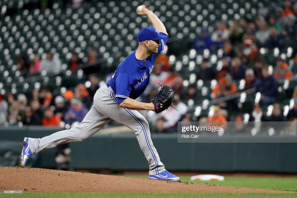 Starting pitcher J.A. Happ #33 of the Toronto Blue Jays throws to a Baltimore Orioles batter in the second inning at Oriole Park at Camden Yards on April 9, 2018 in Baltimore, Maryland.