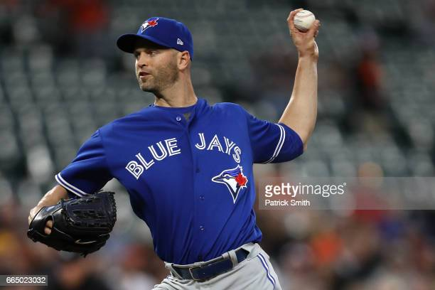 Starting pitcher JA Happ of the Toronto Blue Jays works the first inning against the Baltimore Orioles at Oriole Park at Camden Yards on April 5 2017...