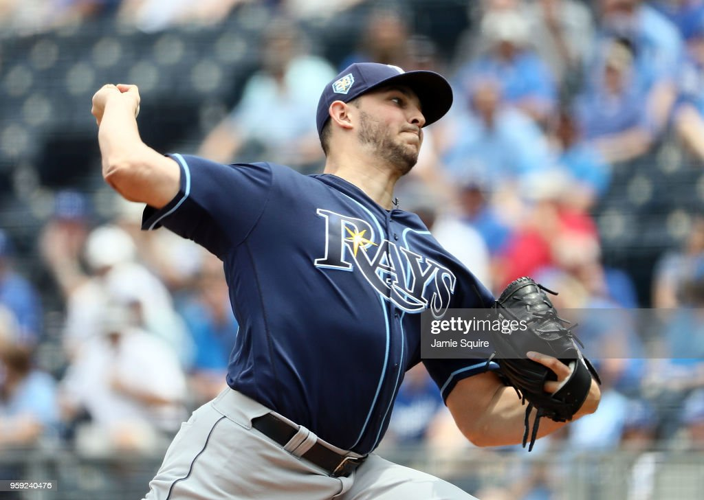 Starting pitcher Jacob Faria #34 of the Tampa Bay Rays pitches during the 1st inning of the game against the Kansas City Royals at Kauffman Stadium on May 16, 2018 in Kansas City, Missouri.
