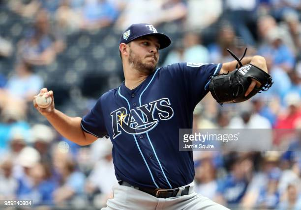 Starting pitcher Jacob Faria of the Tampa Bay Rays pitches during the 1st inning of the game against the Kansas City Royals at Kauffman Stadium on...
