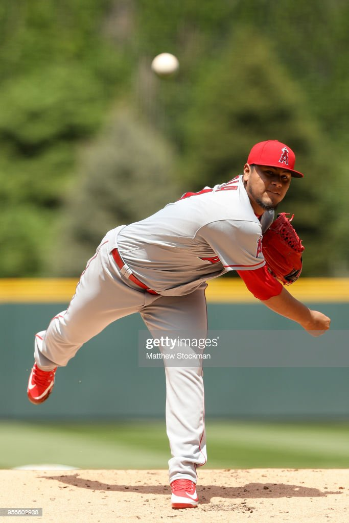 Starting pitcher Jaime Barria #51 of the Los Angeles Angels of Anaheim throws in the first inning against the Colorado Rockies at Coors Field on May 9, 2018 in Denver, Colorado.
