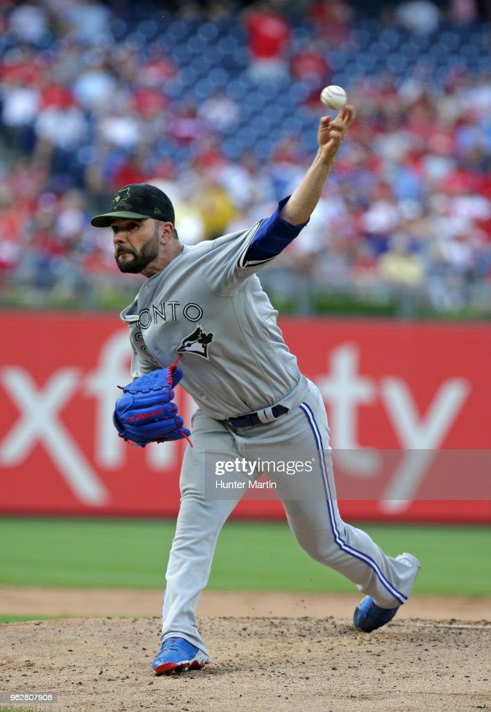 Starting pitcher Jaime Garcia #57 of the Toronto Blue Jays throws a pitch in the first inning during a game against the Philadelphia Phillies at Citizens Bank Park on May 26, 2018 in Philadelphia, Pennsylvania.