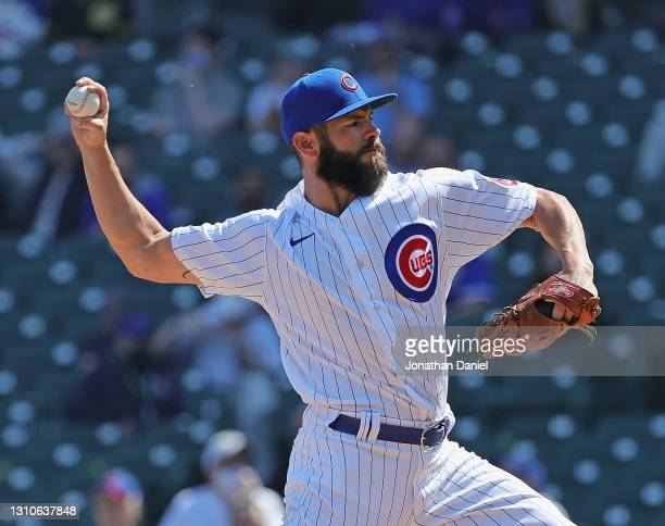 Starting pitcher Jake Arrieta of the Chicago Cubs delivers the ball against the Pittsburgh Pirates at Wrigley Field on April 03, 2021 in Chicago,...
