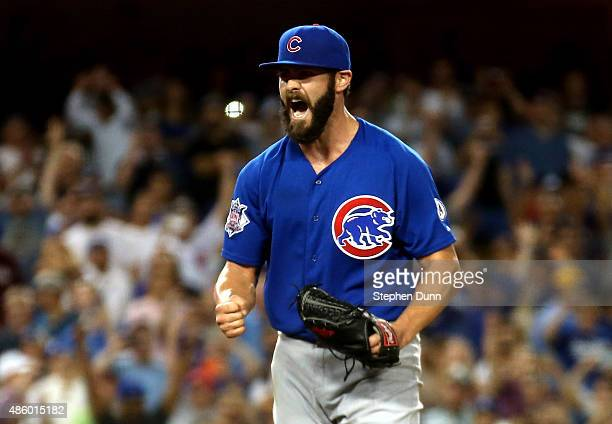 Starting pitcher Jake Arrieta of the Chicago Cubs reacts after getting the fianl out of a no hitter against the Los Angeles Dodgers at Dodger Stadium...