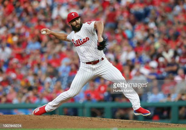 Starting pitcher Jake Arrieta of the Philadelphia Phillies throws a pitch in the third inning during a game against the San Diego Padres at Citizens...