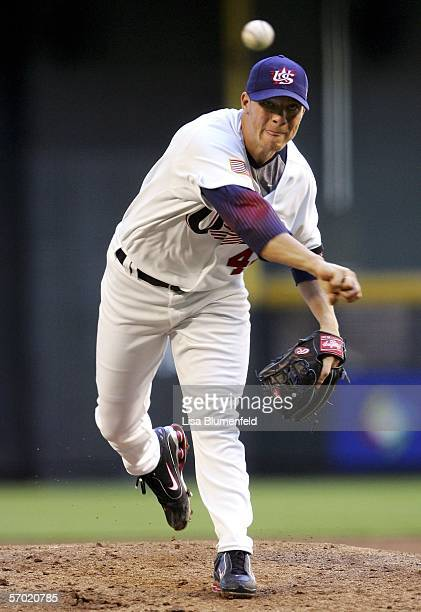 Starting pitcher Jake Peavy of Team USA pitches against Team Mexico during the Round 1 Pool B Game of the World Baseball Classic at Chase Field on...