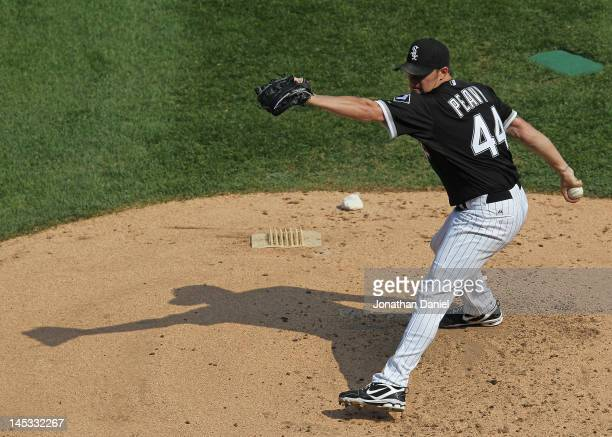 Starting pitcher Jake Peavy of the Chicago White Sox delivers the ball against the Cleveland Indians at US Cellular Field on May 26 2012 in Chicago...