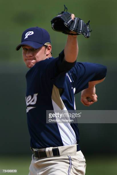 Starting pitcher Jake Peavy of the San Diego Padres pitches against the Kansas City Royals during the MLB spring training game on March 5 2007 at...