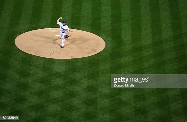 Starting Pitcher Jake Peavy of the San Diego Padres throws from the mound against the Houston Astros during their Opening Day Game at Petco Park...